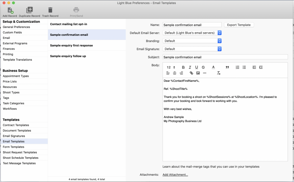 Mailing List Template from www.lightbluesoftware.com
